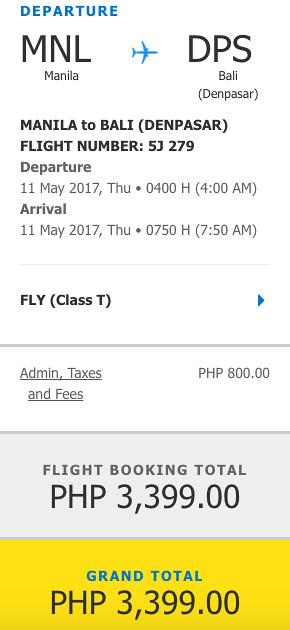 Manila to Bali Promo May 11, 2017