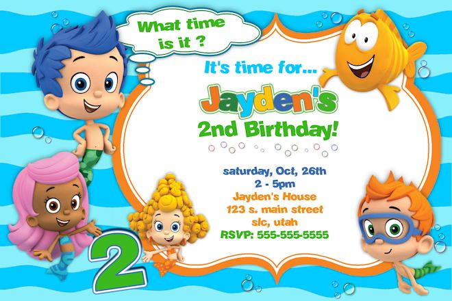 bubble-guppies-birthday-invitation-4 | bubble guppies - cust… | flickr, Party invitations