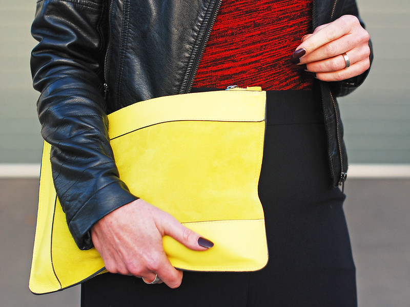Corporate rock chic look: Black biker jacket  red textured t-shirt  navy culottes  Finery pointed strappy snakeskin buckle shoes  neon yellow suede clutch | Not Dressed As Lamb, over 40 style