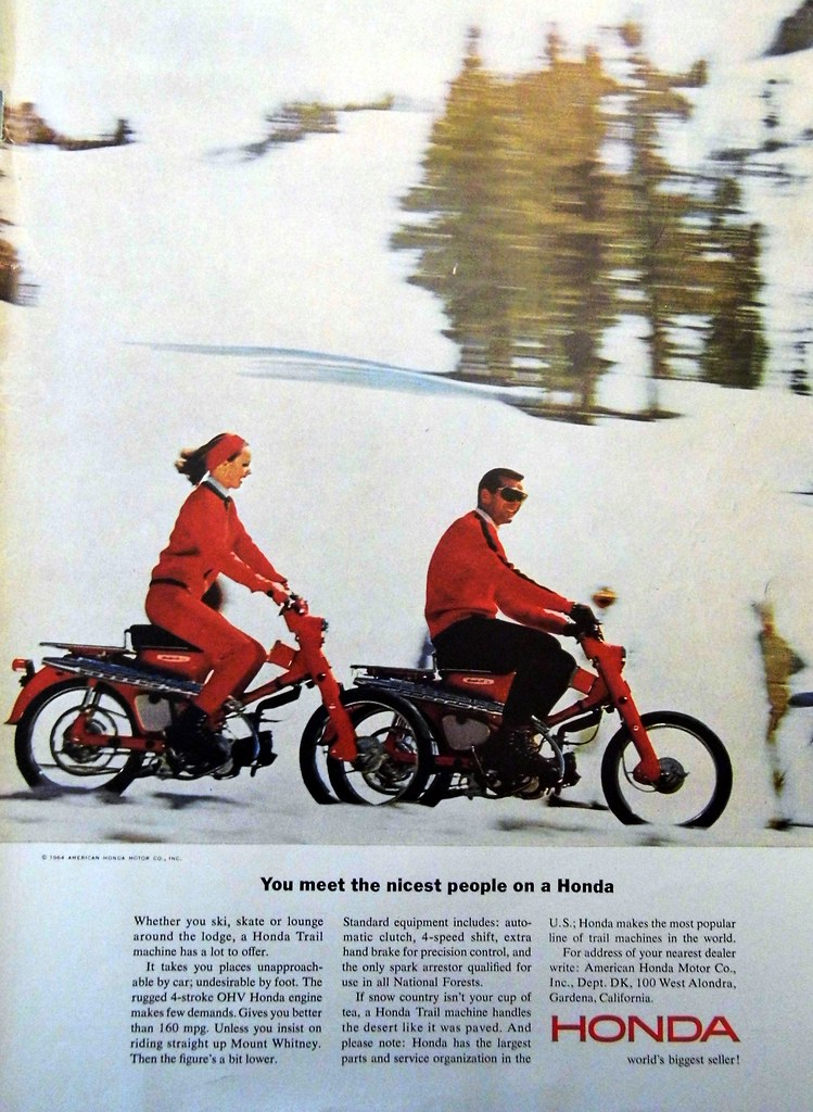 Vintage Motorcycle Advertising 1964 Honda Trail Machine Ad You Meet The Nicest People