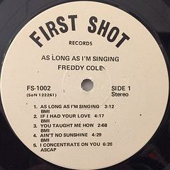 FREDDY COLE:AS LONG AS I'M SINGING(LABEL SIDE-A)