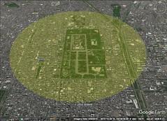 Kyoto, Japan  2.5 kilometer diameter