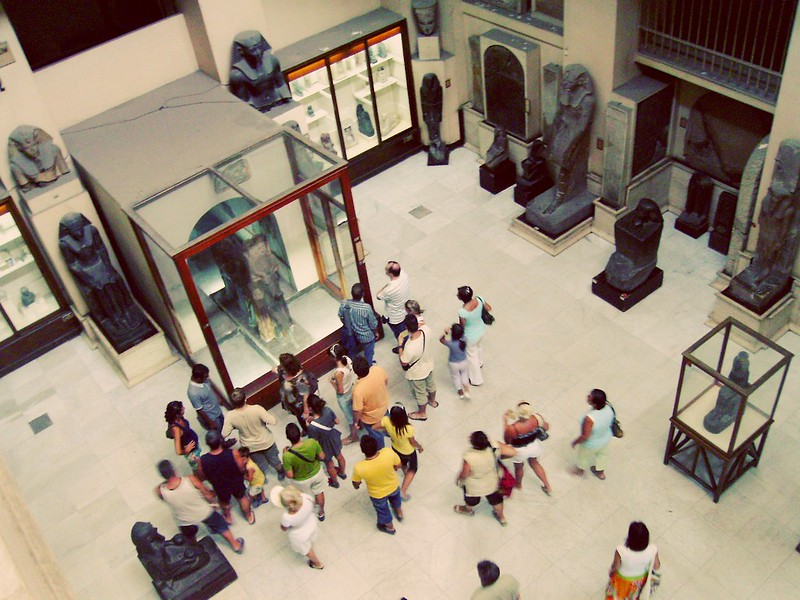 Tourists in Cairo's Museum of Antiquities