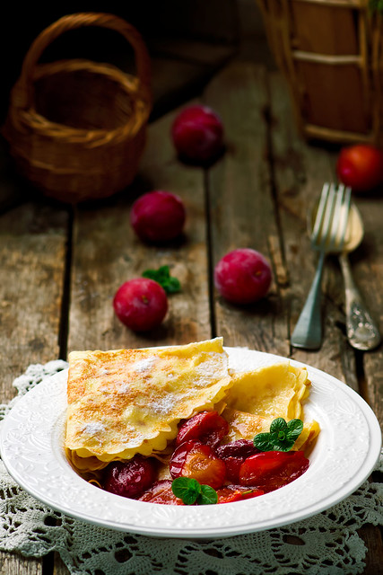 pancakes with plum sauce