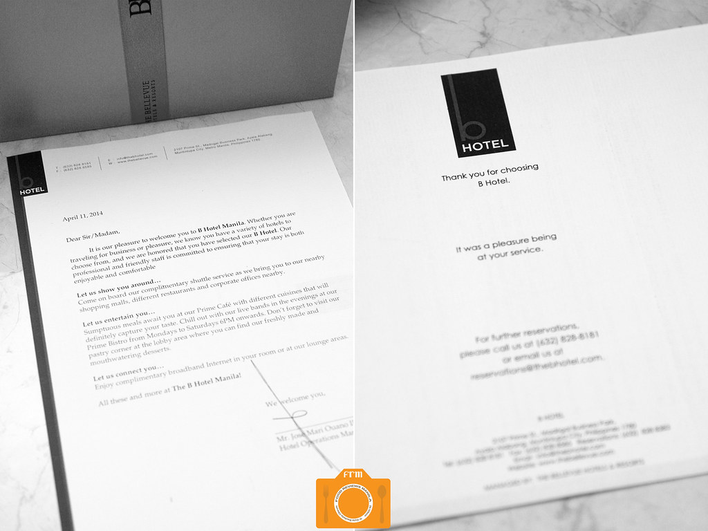 foodreviewsmanila b hotel welcome letter by foodreviewsmanila