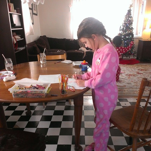 Drawing her pictures for Santa. :-) | by Urthmama