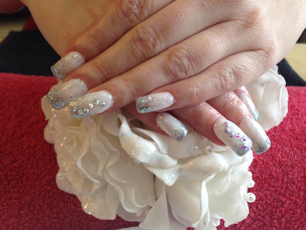 Acrylic Nails With Silver And White Gel Polish Glitter Dust Swarovski Crystals