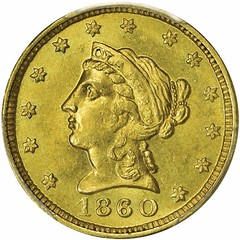 1860 Clark, Gruber & Co. Gold $2.50 obverse