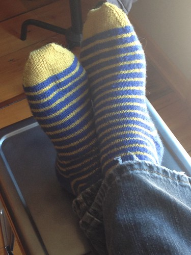 swedish stripes yellow toes | by gradschoolknitter