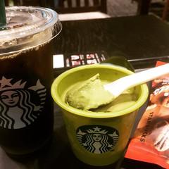 matcha pudding❤︎  #matcha #pudding #osaka #japan #icedcoffee #スタバ #抹茶プリン #メープルナッツ #アイスコーヒー #大阪
