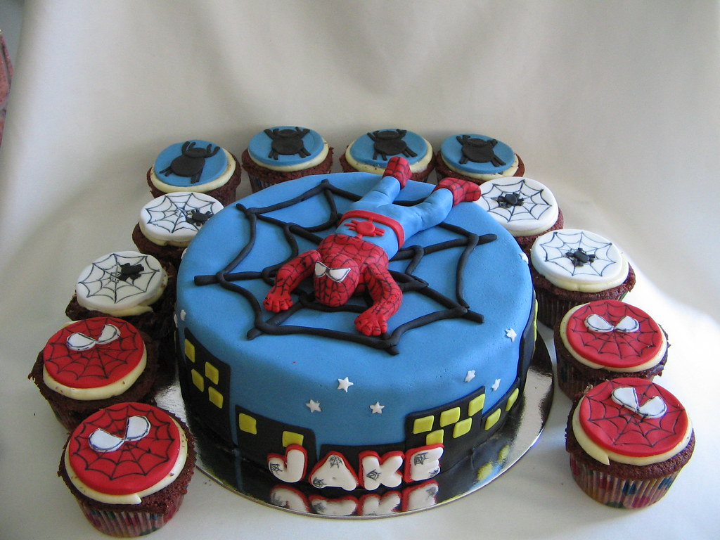 Spiderman Birthday Cake Cupcakes The Cake Is Chocolate Mud Flickr