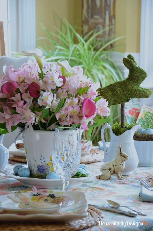 Easter Bunny Parade Tablescape-Pottery Barn-Moss Bunnies-Housepitality Designs