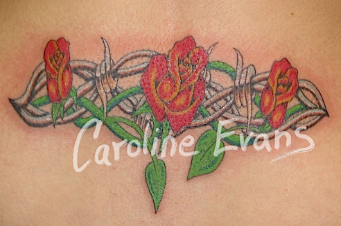 Color Red Rose Chrome Barbed Wire Lower Back Tattoo Flickr