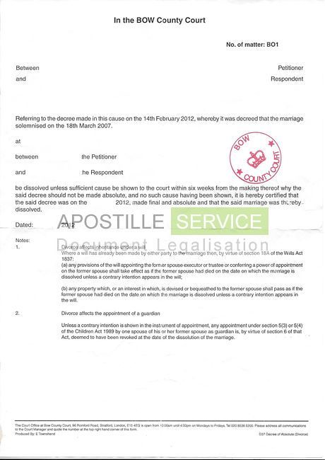 ... Decree Absolute Sample | By Ukapostille  Divorce Decree Sample