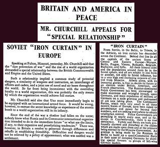"5th March 1946 - Winston Churchill ""Iron Curtain"" speech 