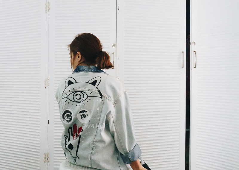 zara graffiti denim jacket