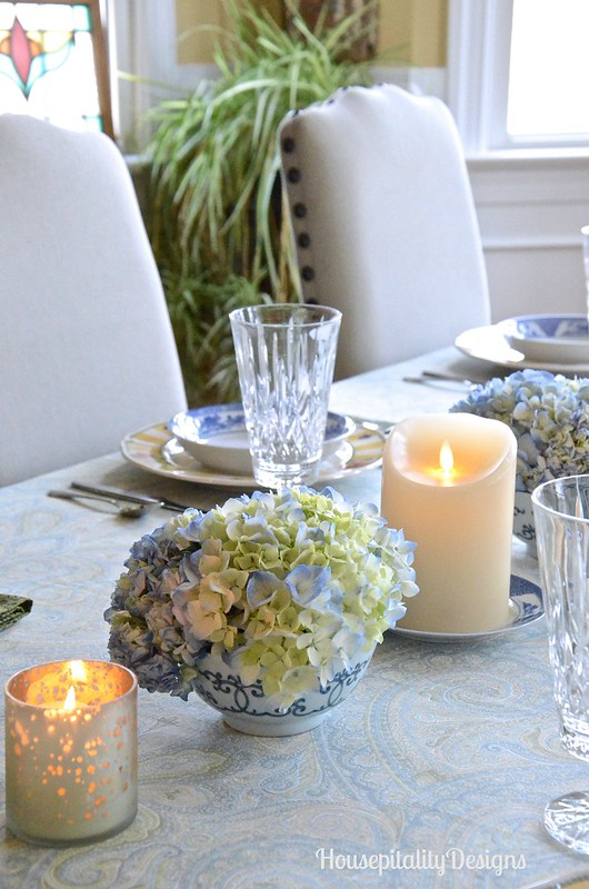 Hydrangea and Candles Centerpiece-Housepitality Designs