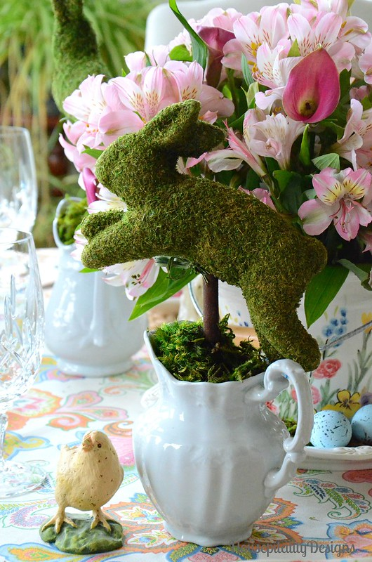 Easter Bunny Parade Tablescape-Moss Bunny-Ironstone-Housepitality Designs