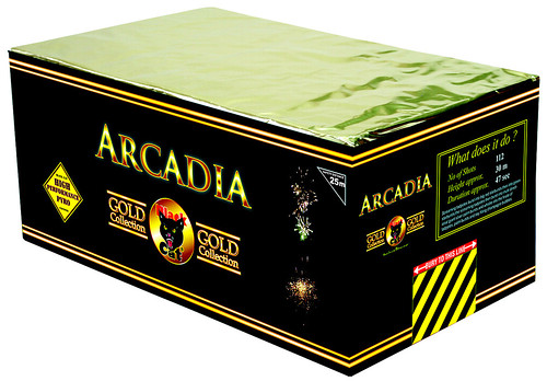 Arcadia 112 Shot SIB by Black Cat Fireworks (Gold Collection)