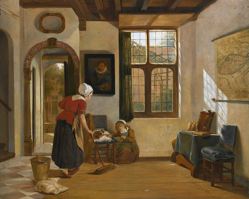 Abraham van Strij - Interior with a Maid, A Girl with a Dog, and A Map of Dordrecht