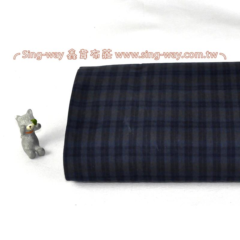 藍灰小方格 簡約 格紋 襯衫服裝布料 FC390386