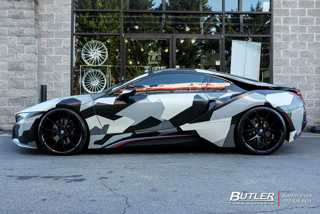 Lowered Camo Wrap Bmw I8 With 22in Savini Bm14 Wheels Flickr