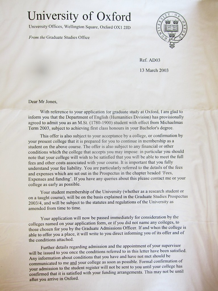Relics Of An Alternative Future Oxford Acceptance Letter From 2004
