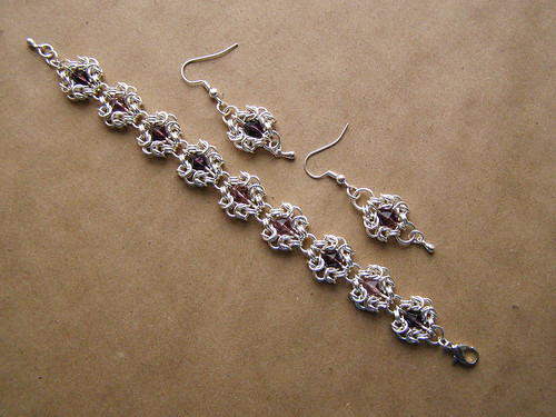 "Bracelet and earrings - ""amethyst crystal"" 
