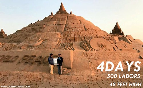 sudarshan patnaik, Sudarshan Patnaik Makes Guiness Record By Making Worlds Biggest Sand Art Of 48ft. It's Huge!
