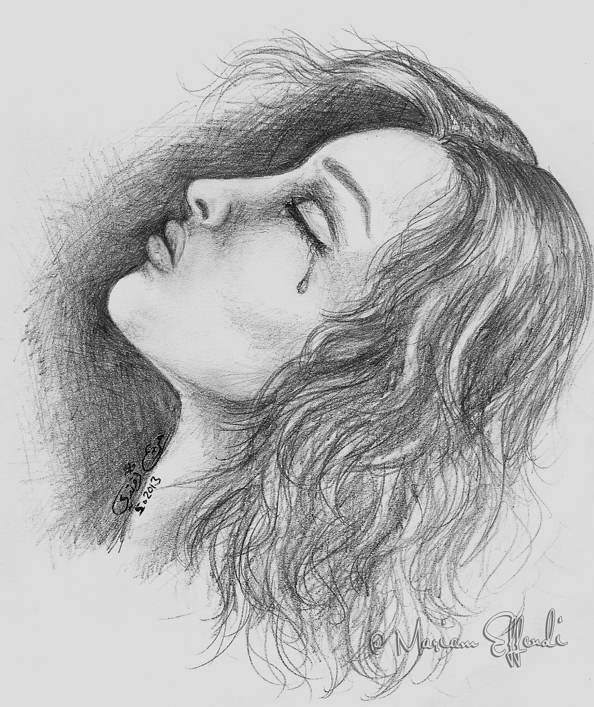woman crying faber castell pencils drawing traditional a