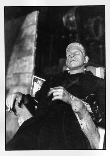 Boris Karloff on the set of The Bride of Frankenstein (1935)