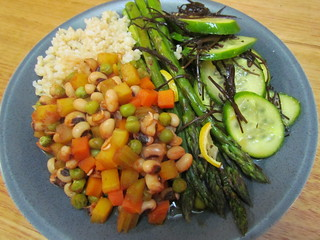 Spring Dinner Menu: Black-Eyed Pea BBQ Stew; Lemon-Roasted Asparagus; Brown Rice; Orange-Seaweed Cucumber Salad