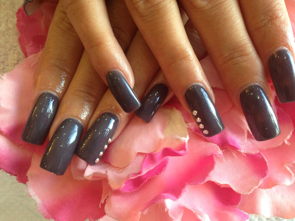 Acrylic nails with dark grey gelish gel polish ,Swarovski … | Flickr