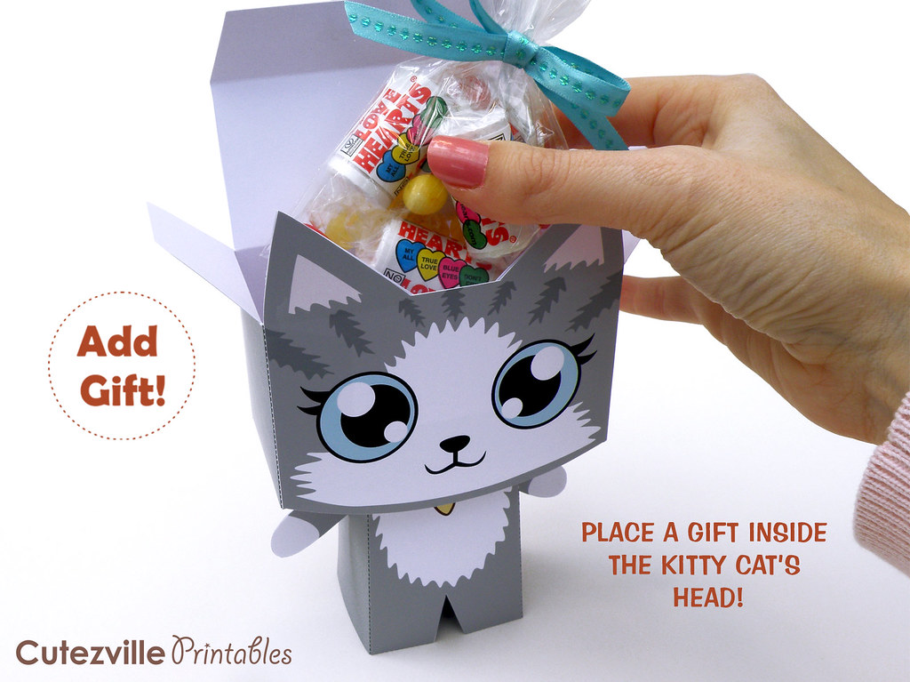 Kitty cat gift box printable pdf gift box with editable te flickr kitty cat gift box printable pdf gift box with editable text features personalize yourself negle Gallery