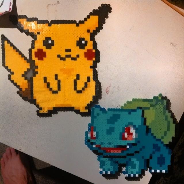 perler bead #8bit #pokemon - pikachu and bulbusaur | Flickr