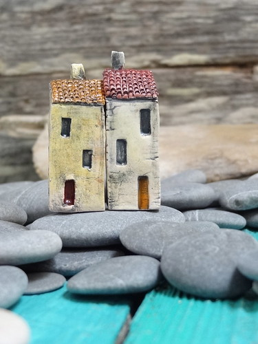 Miniature Ceramic House Free Sculpted Stoneware Clay