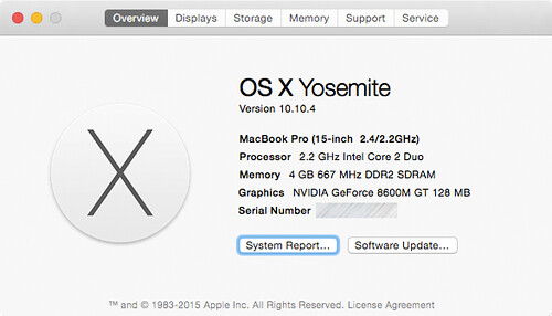 Successful (and trouble-free) upgrade of an 8-year-old MacBook Pro from Mac OS X 10.5.8 to 10.10.4 | by Lee Bennett