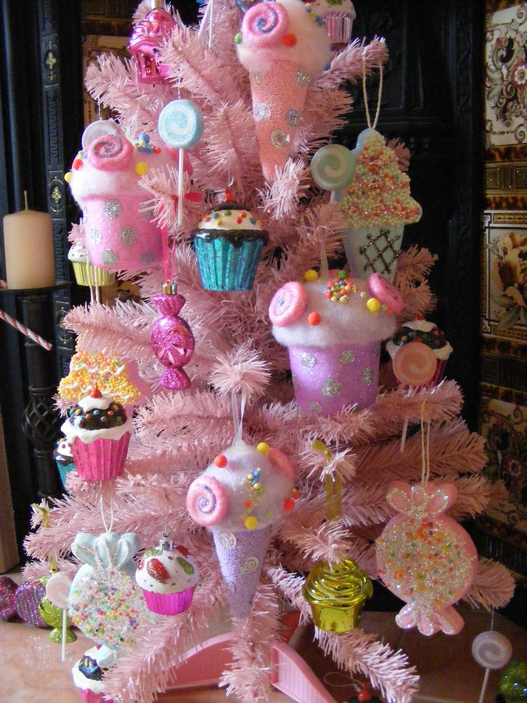 by candy pink christmas tree with cupcakes lollipops candies and ice creams by - Candy Christmas Tree