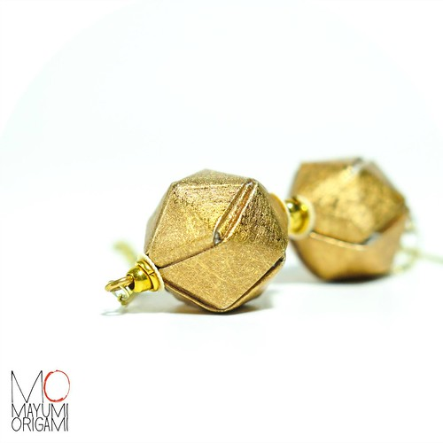 Golden Origami Earrings by Mayumi Origami