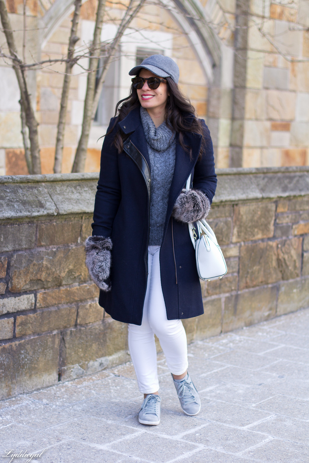 grey turtleneck, white jeans, wool baseball cap, furry mittens-2.jpg