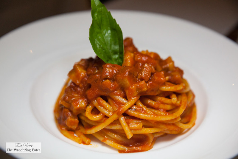 Bucatini all'Amatriciana (Bucatini with Tomatoes Sauce, Guanciale and Peperoncino)