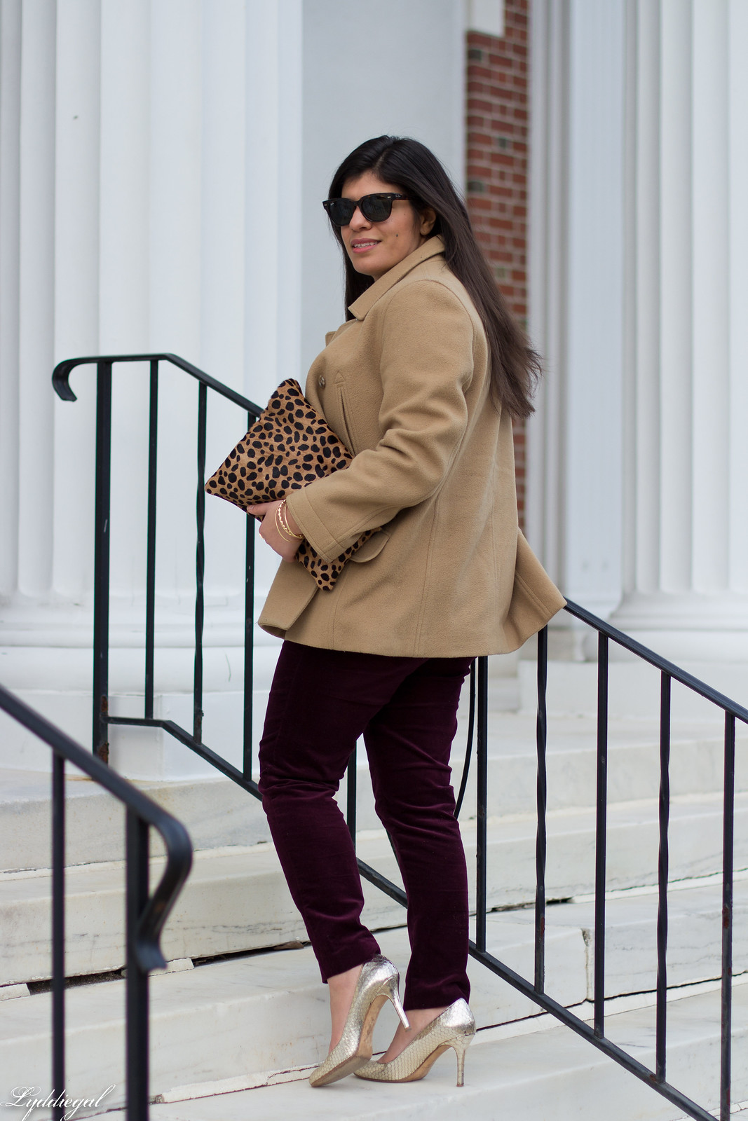 velvet pants, camel coat, silver pumps, leopard clutch-11.jpg