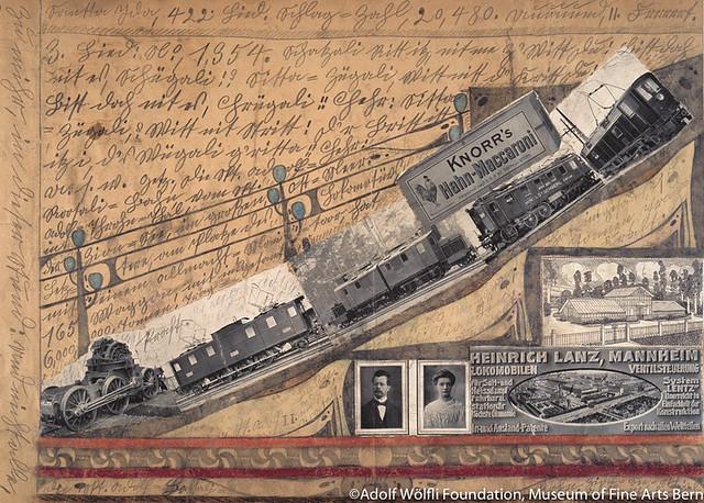 全能なるモーターのついた機関車,165台の車両を持つ,総量6,000,000トンの,積載量》(1919年)ベルン美術館 アドルフ・ヴェルフリ財団蔵