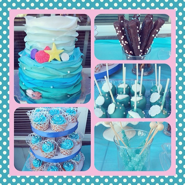 Giselles Little Mermaid Theme Baby Shower Sweets Table B Flickr