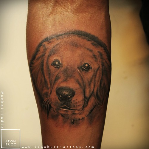 Iron Buzz Tattoos Andheri Mumbai: Cute-dog-pet-portrait-love-best-friend-tattoo-on-arm-black