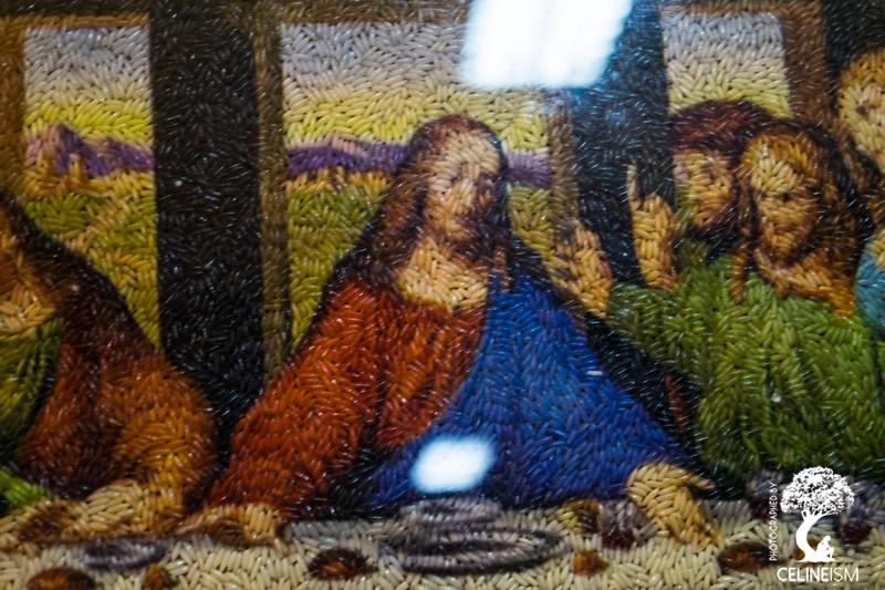 Last Supper made entirely of rice grains
