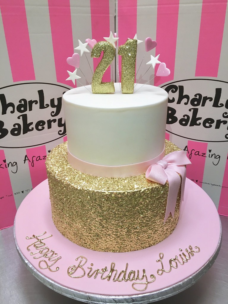 2 Tier 21st Birthday Cake With Gold Sequins Bottom Pastel Pink Ribbon And