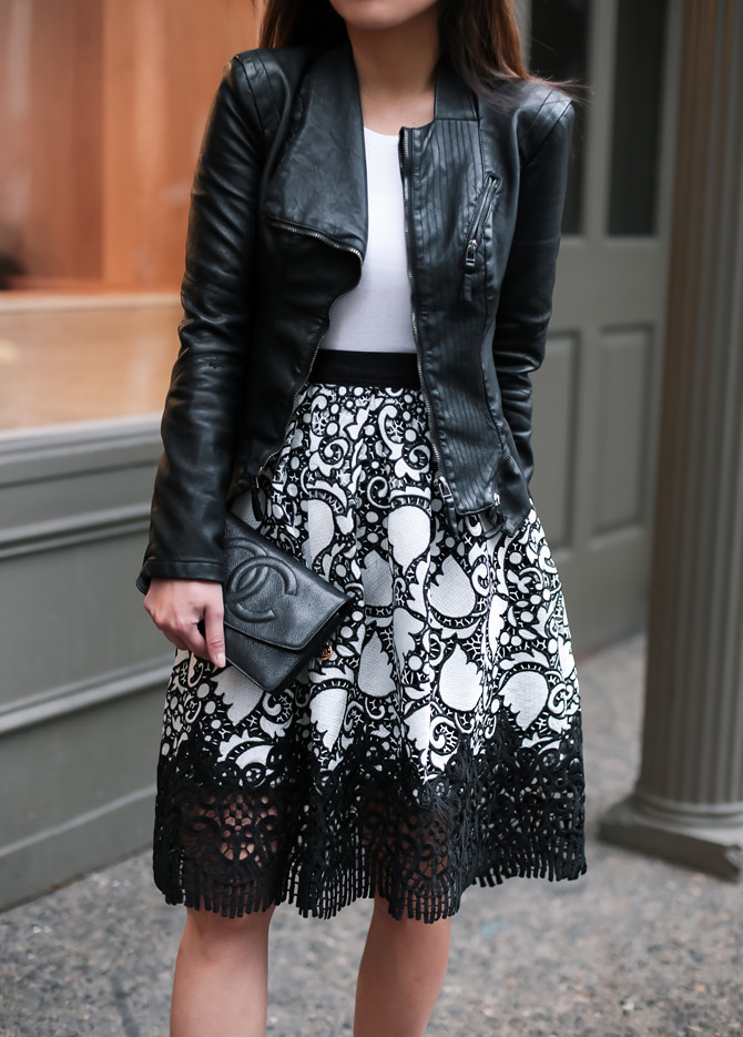 stylish spring lace skirt leather jacket outfit petite fashion