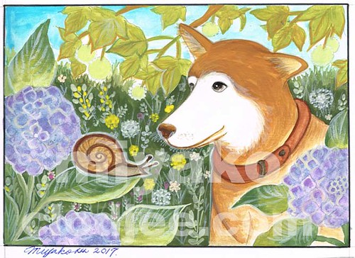 A dog and a snail with hydrangea under a platane