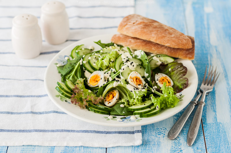 Quail Egg Salad with Curry Yogurt Dressing